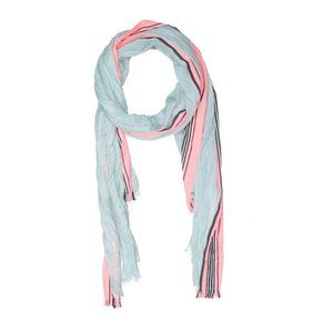 Light blue & pink boho fringed knit scarf